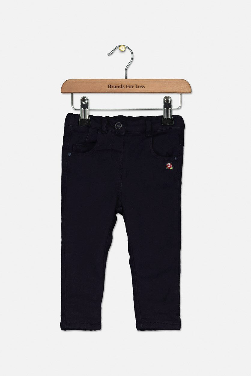 Little Girls Embroidered Pants, Navy