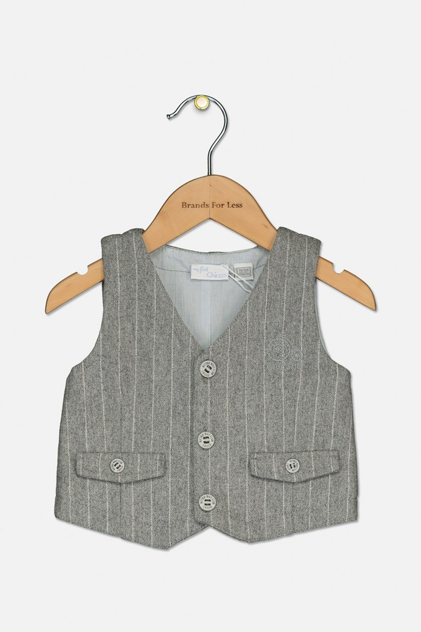 Toddler's Boys Stripe Vest, Gray