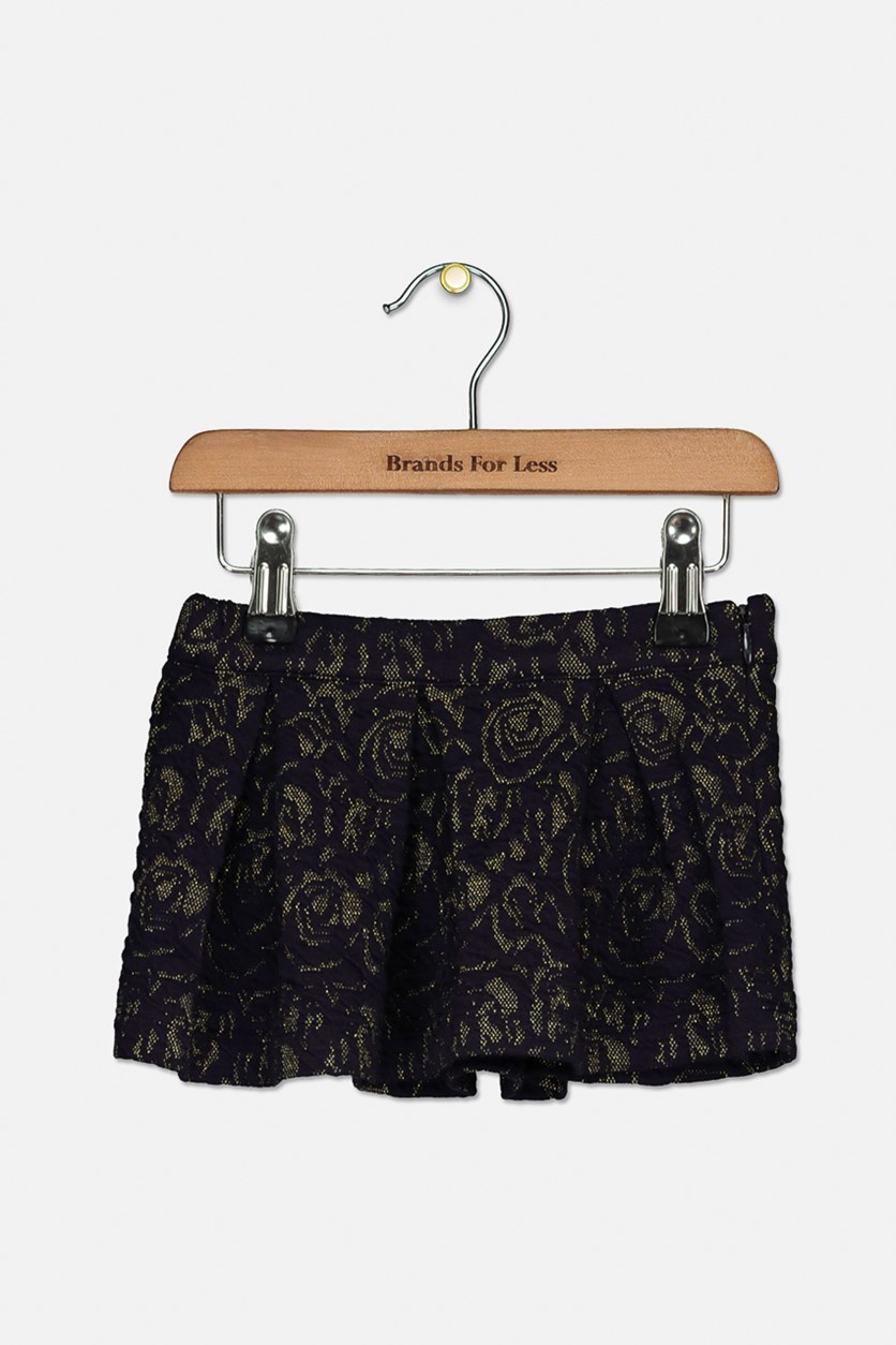 Toddlers Zipper Closure Skirts, Navy/Gold