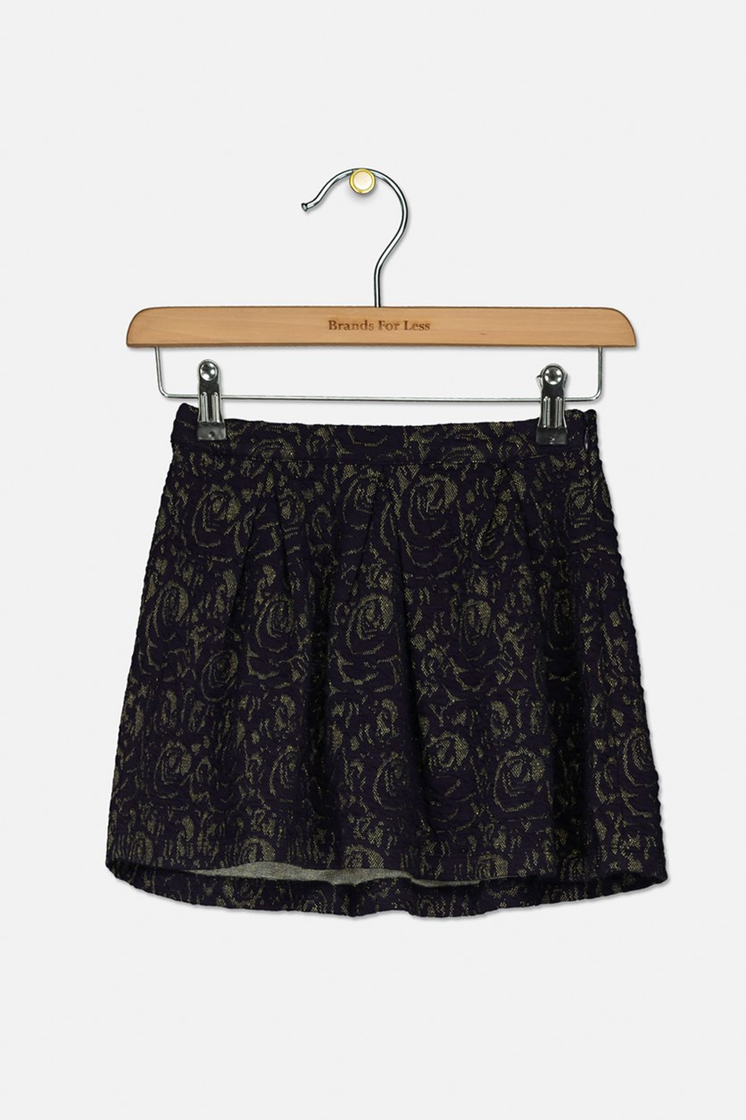 Kids Girls Textured Skirt, Navy/Gold