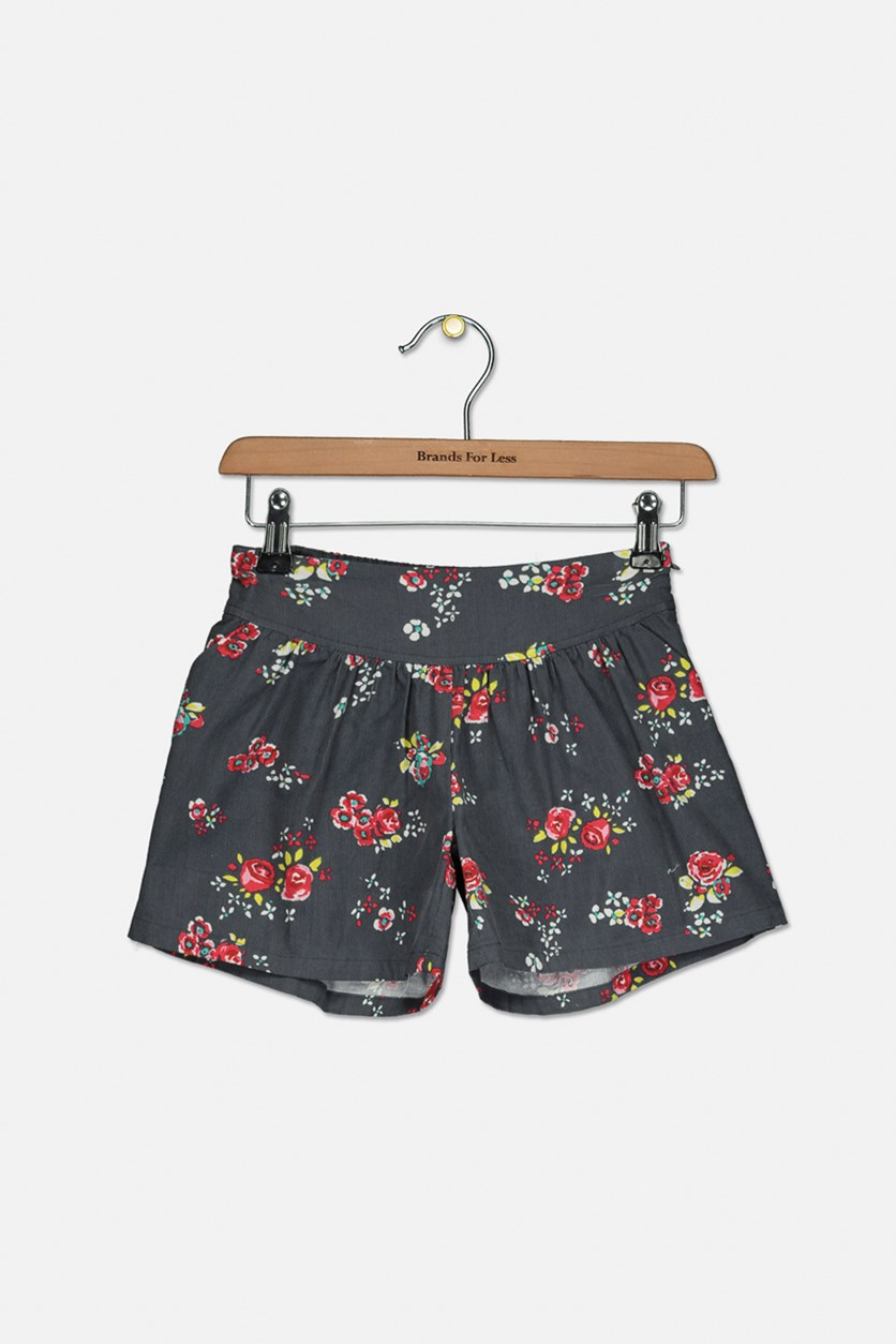 Kids Girls Floral Shorts, Grey Combo
