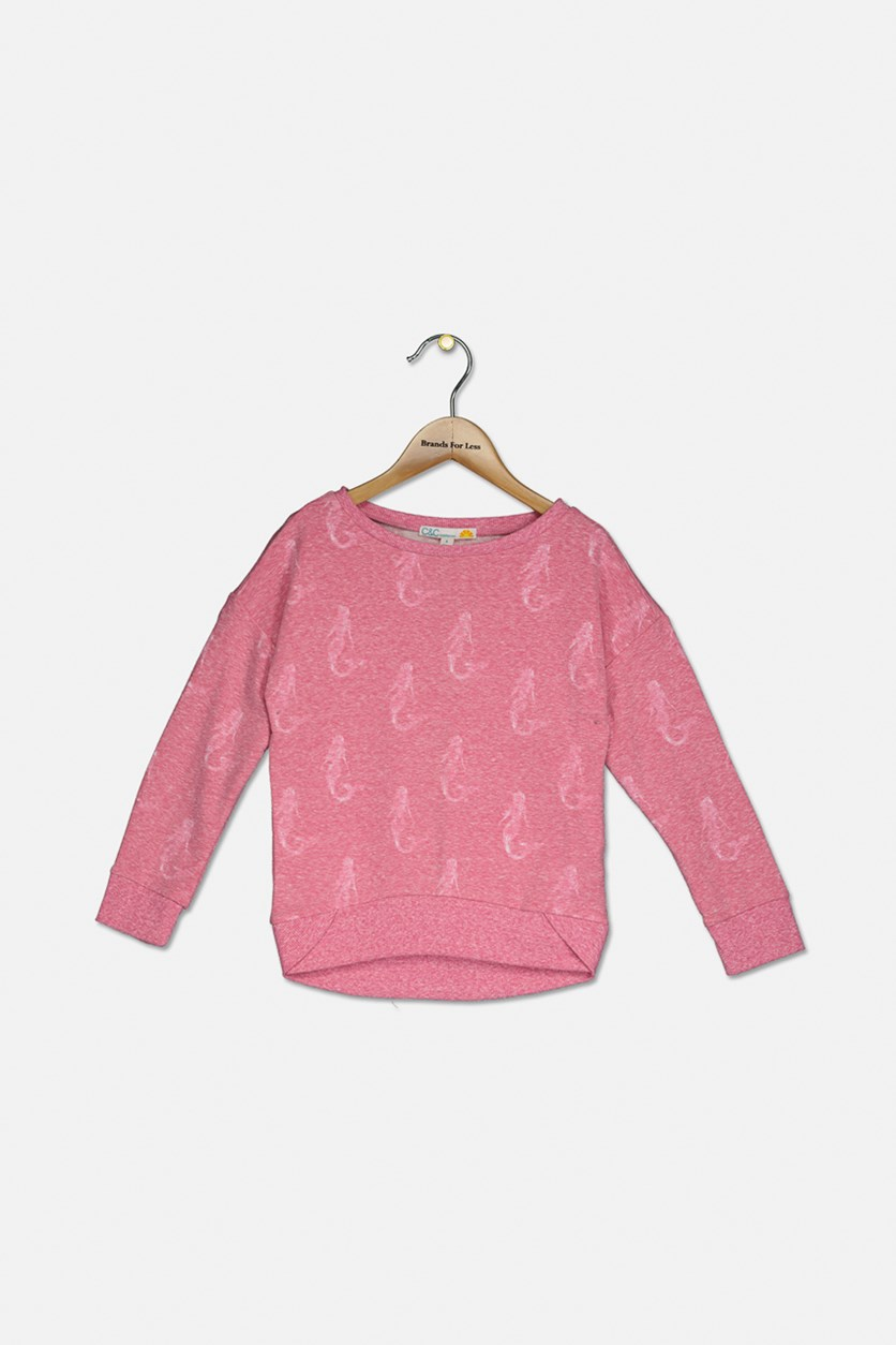 Girl's Mermaid Graphic Top, Pink