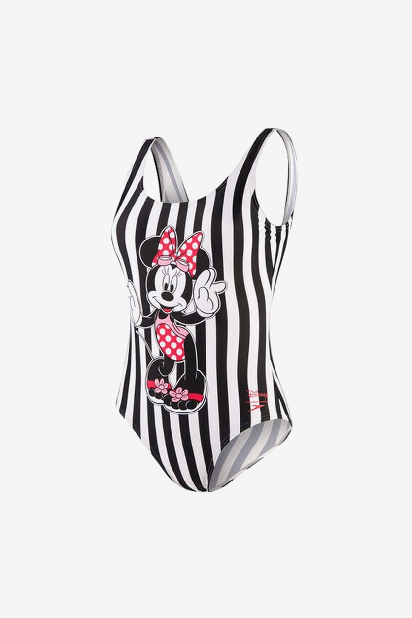 Women's Stripe Minnie Swimsuit, Black Combo