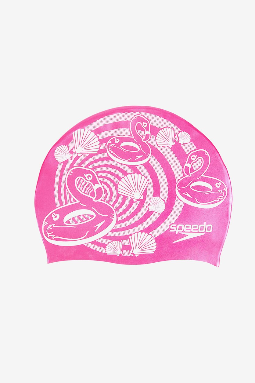 Junior Slogan Swim Cap, Pink/White
