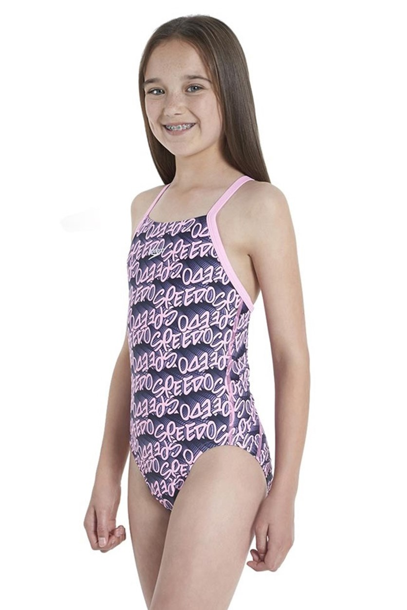 Girl's Printed Swimsuit, Pink/Navvy