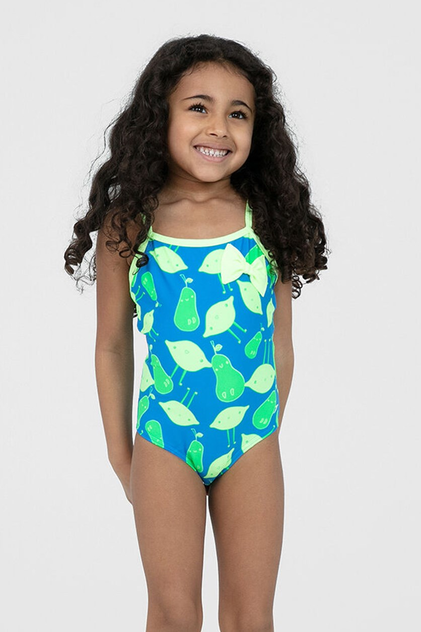 Girl's Printed Swimsuit, Blue/Lime