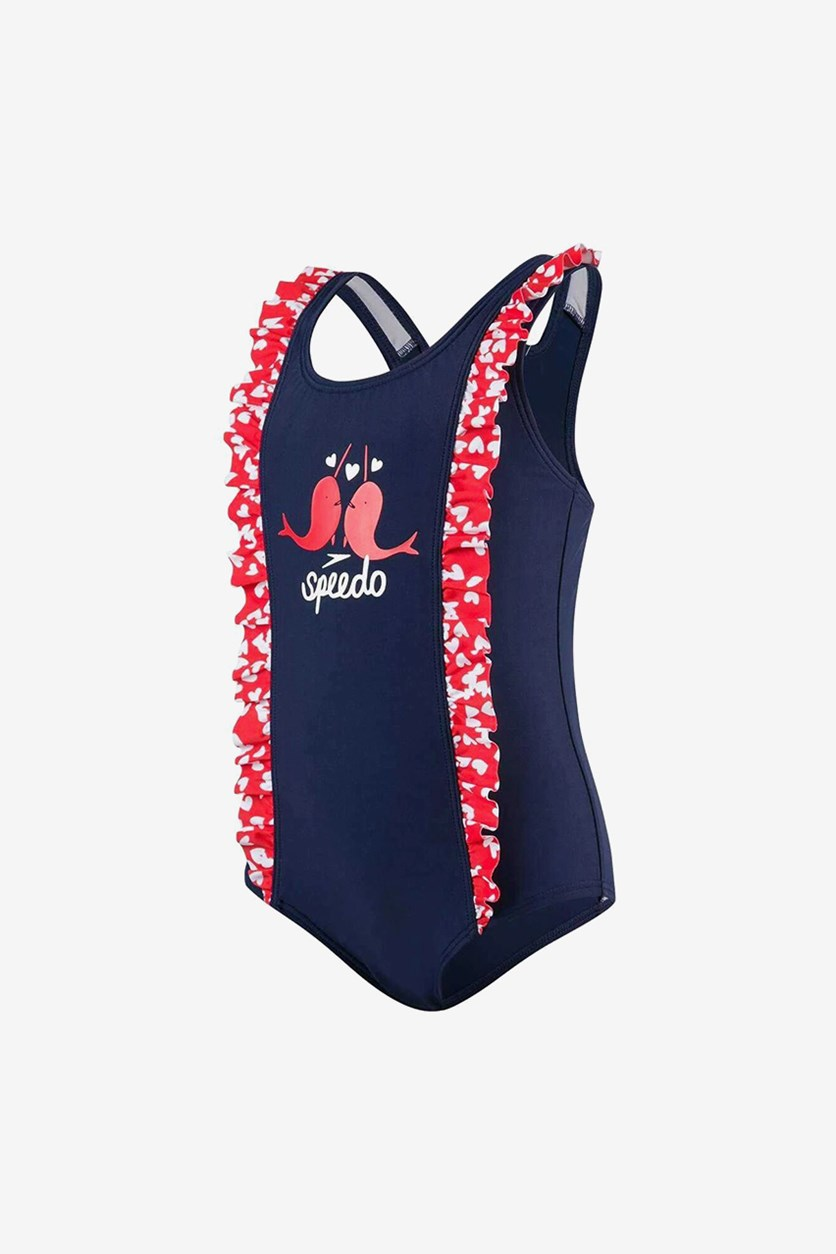 Girls' Double Frill Swimsuit, Navy/Red/White
