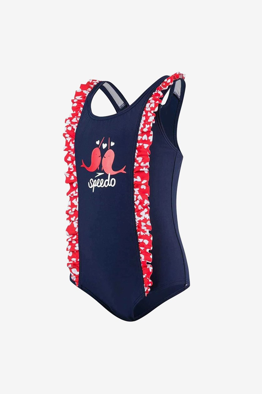 Toddler Girls' Double Frill Swimsuit, Navy/Red/White