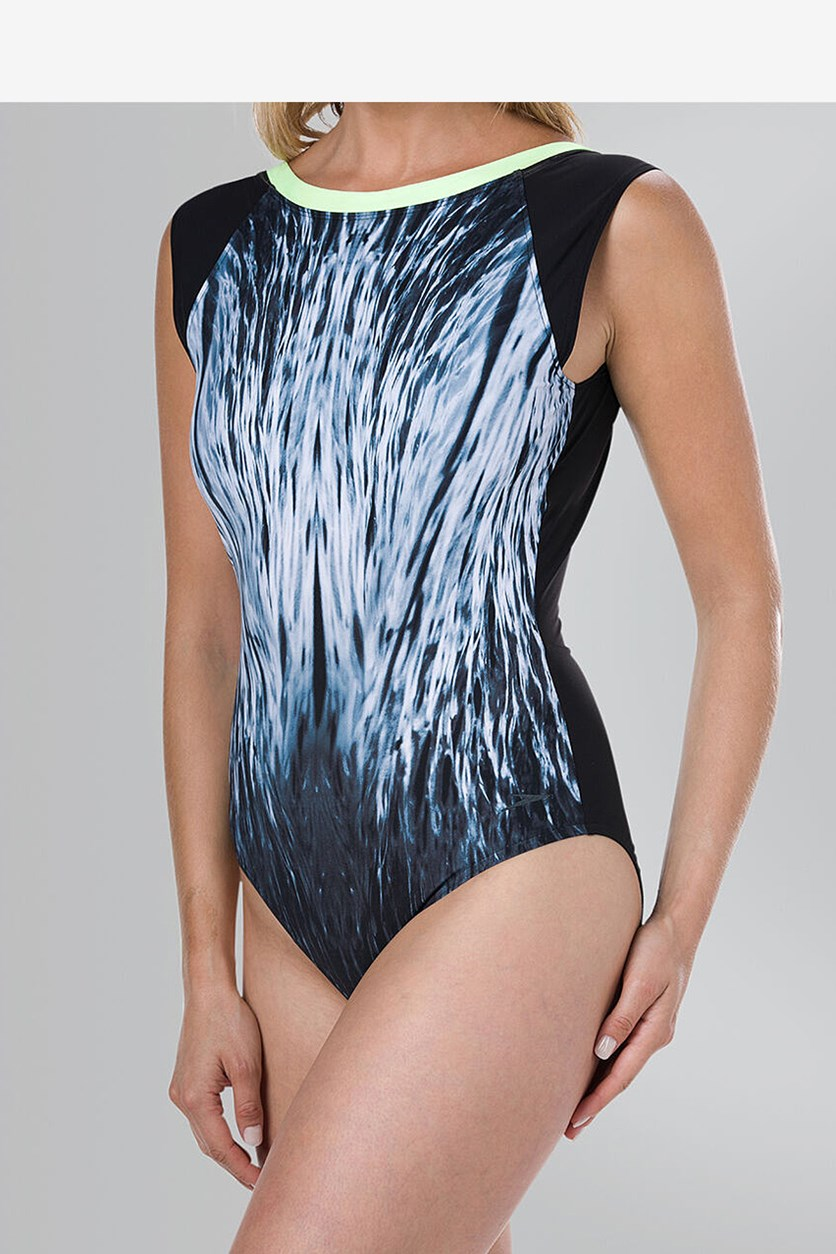 Women's Crystal-Sheen Printed Swimsuit, Black/Neon