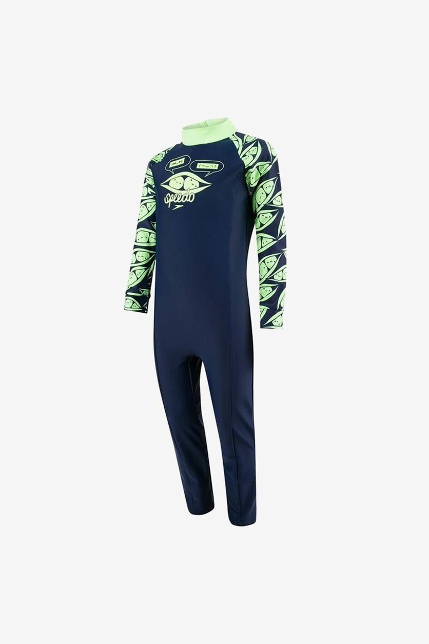 Toddler Boy's Colorblock Long Sleeve All-In-One Suit, Navy/Lime Green