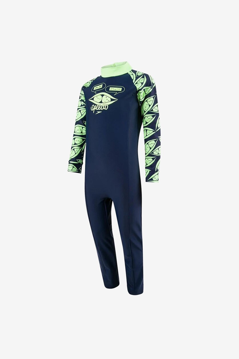 Boy's Colorblock Long Sleeve All-In-One Suit, Navy/Lime Green