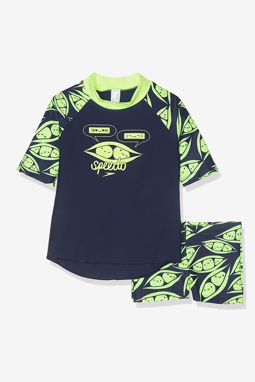Toddler Boy's Tops & Short Ess Sunt Set, Navy/Lime Green