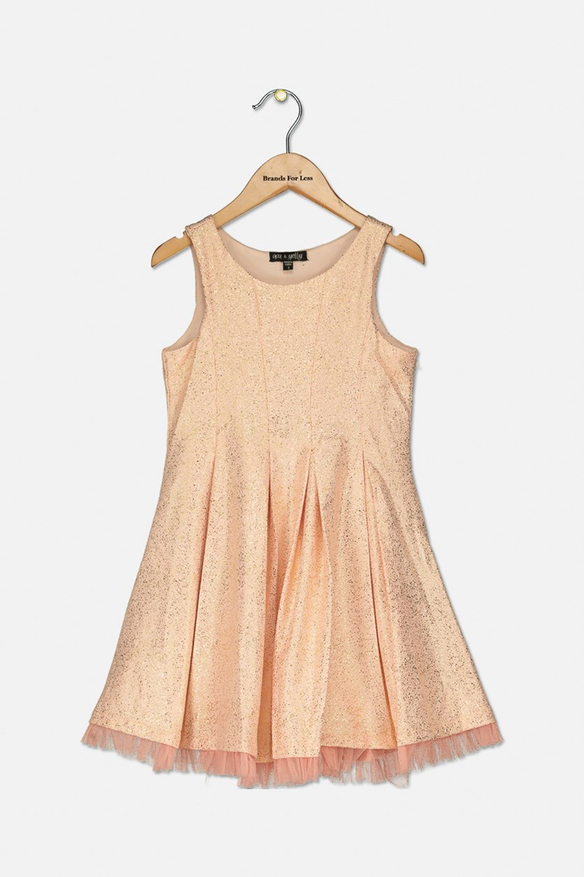Kid's Girl Metallic Dress, Pink