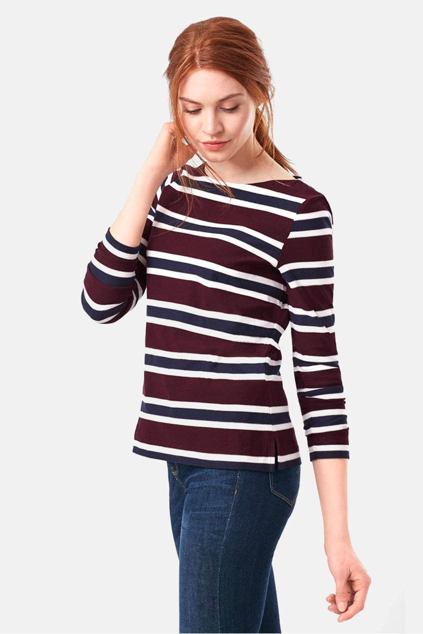 Women's 3/4 Sleeve Tops, Maroon/Navy Combo