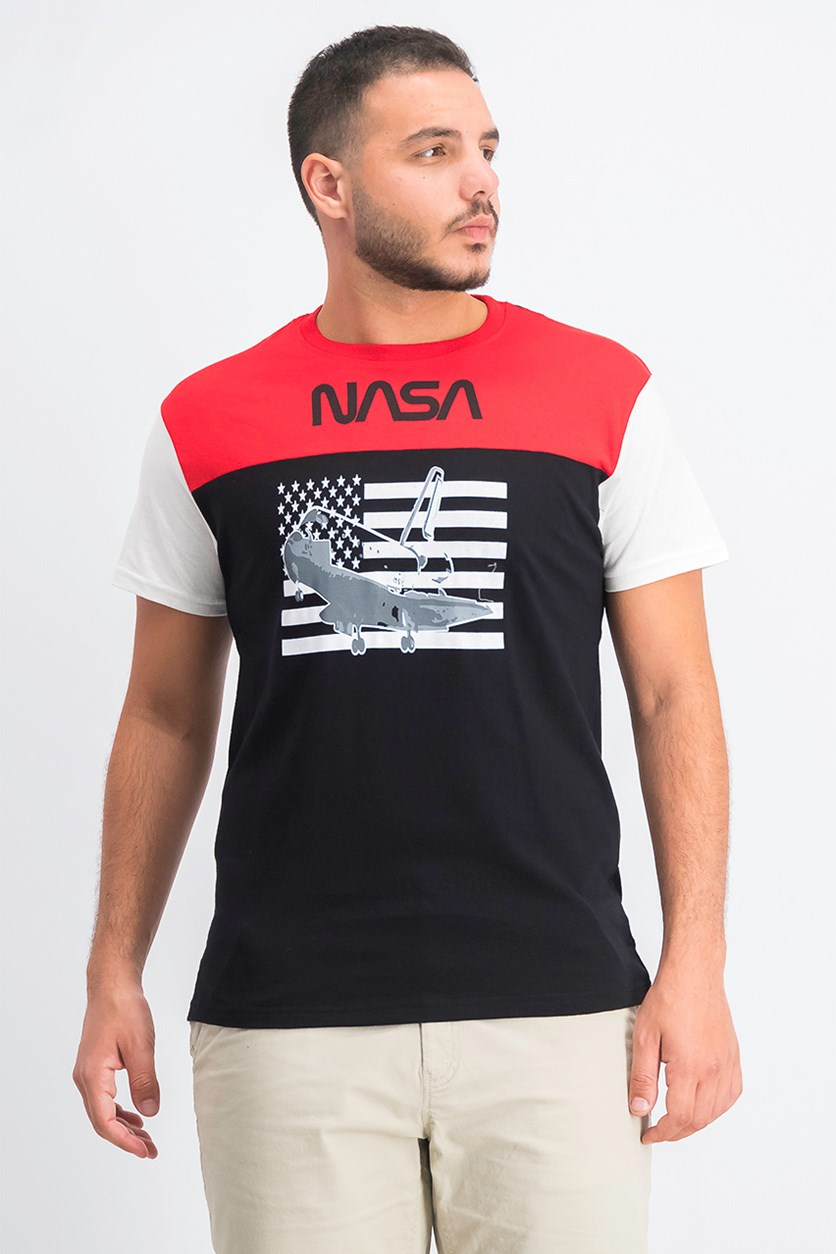Mens Nasa Graphic T-Shirt, Black/Red