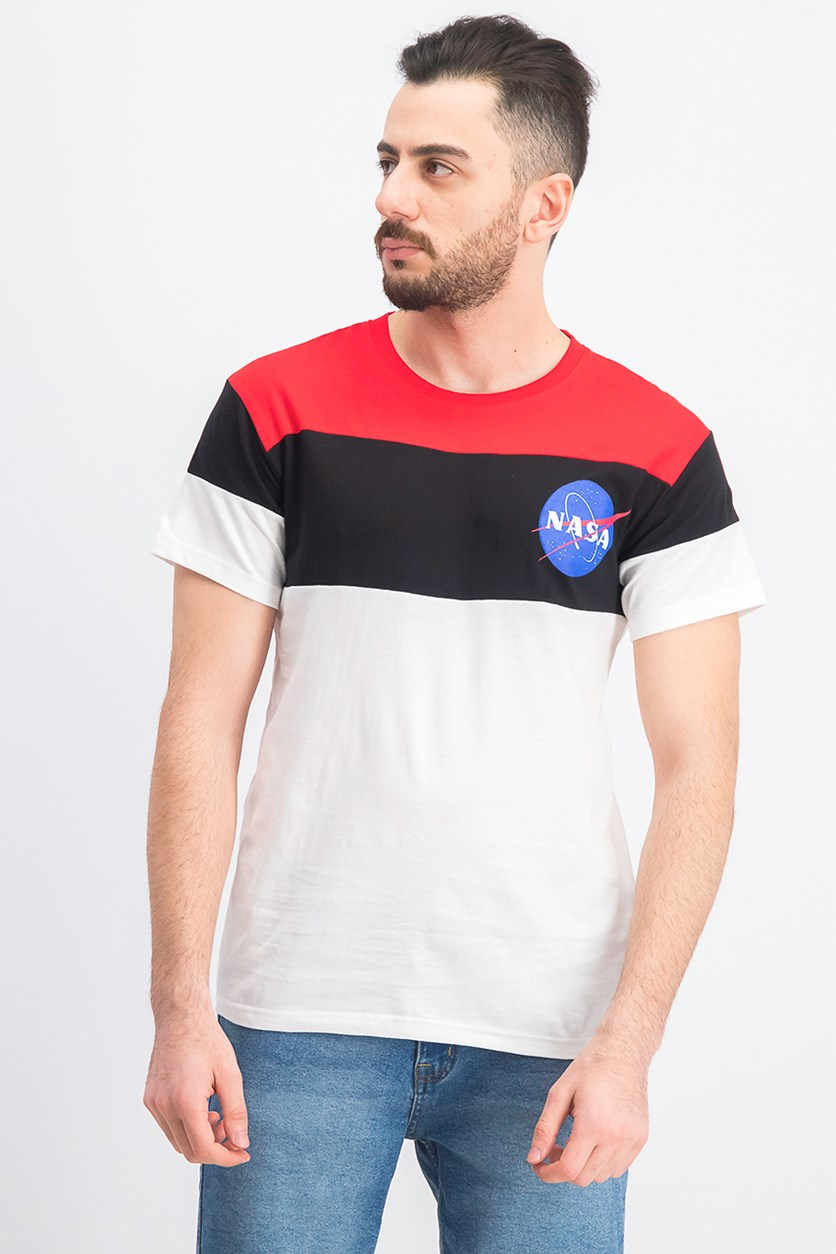 Men's Colorblock Crew-Neck T-Shirt, Red/Black/White