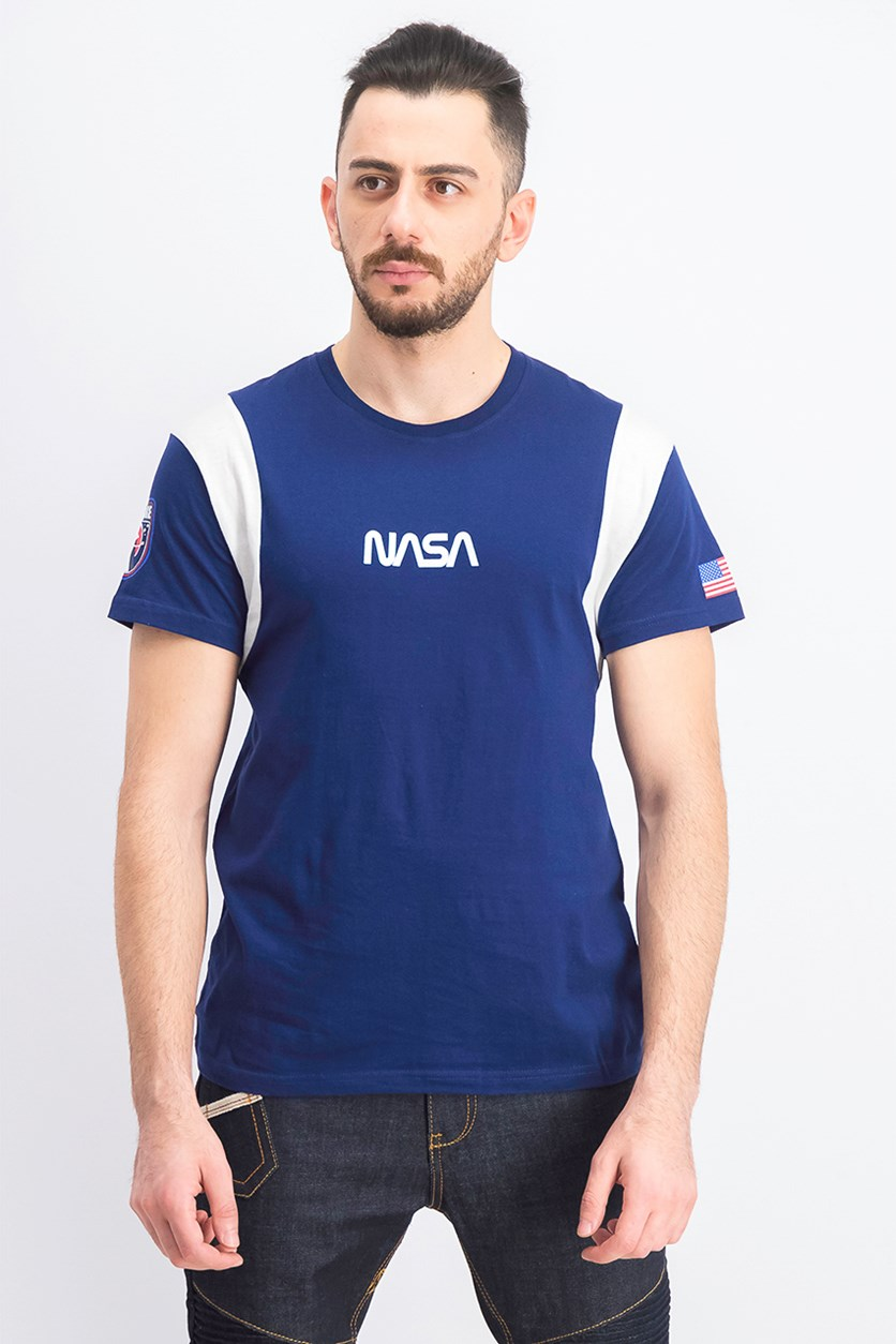 Men's Colorblock NASA Print T-Shirt, Navy/White
