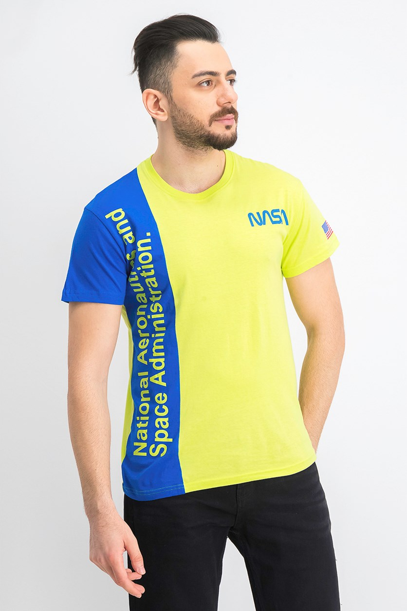 Men's NASA Print Short Sleeve T-Shirt, Lime Green/Blue