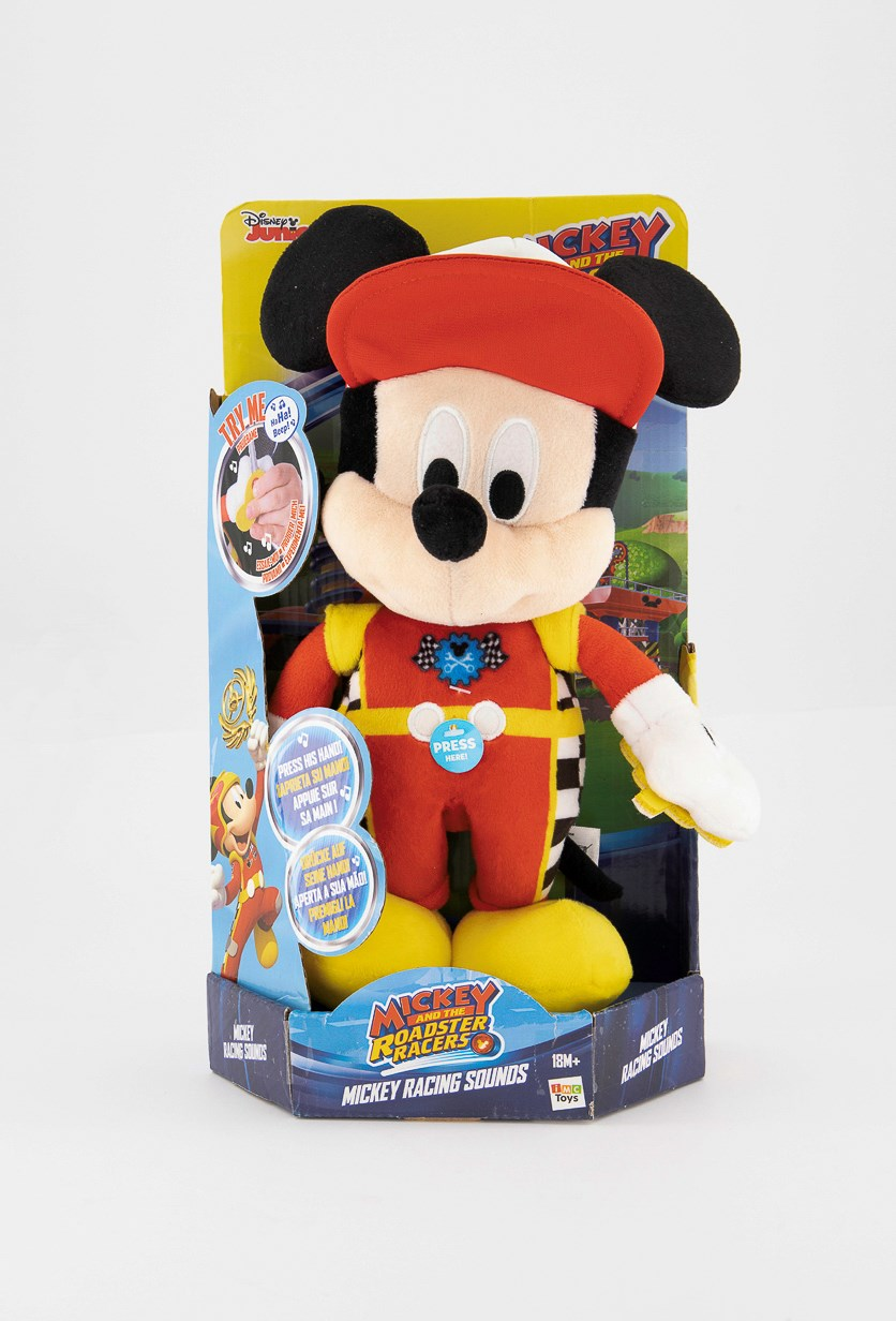 Mickey Roadster Racers Funny Sounds Plush, Red/Yellow