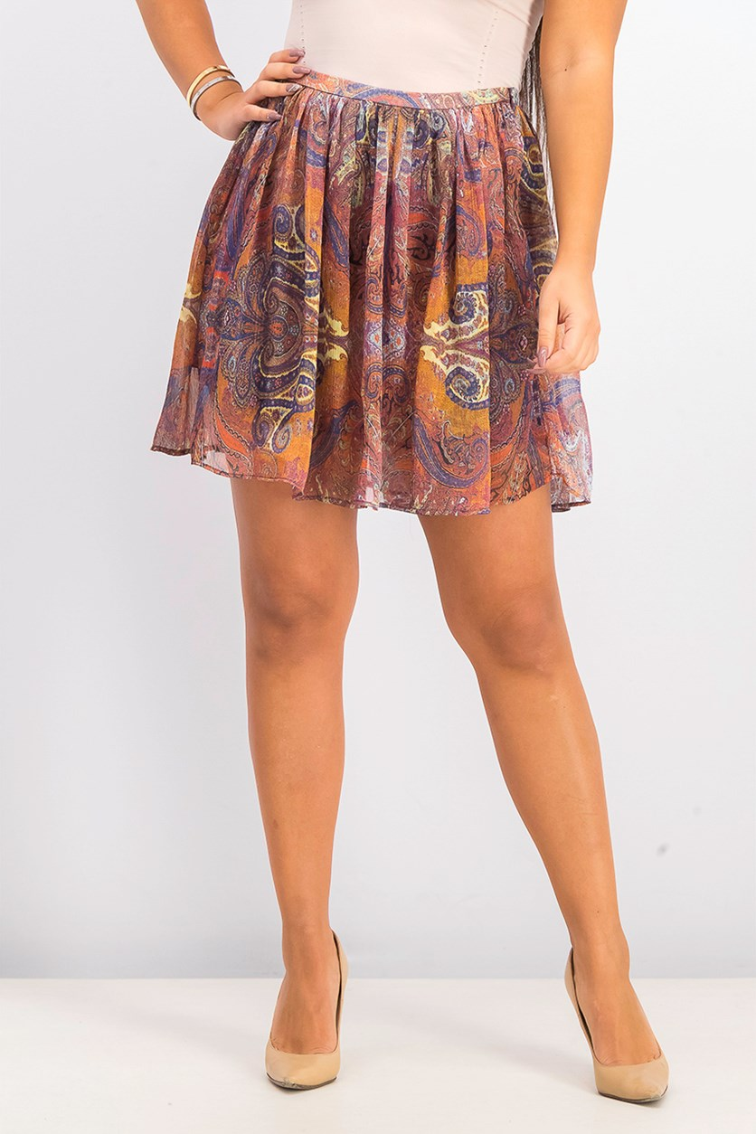 Womens Printed Knit Skirt, Rust Combo