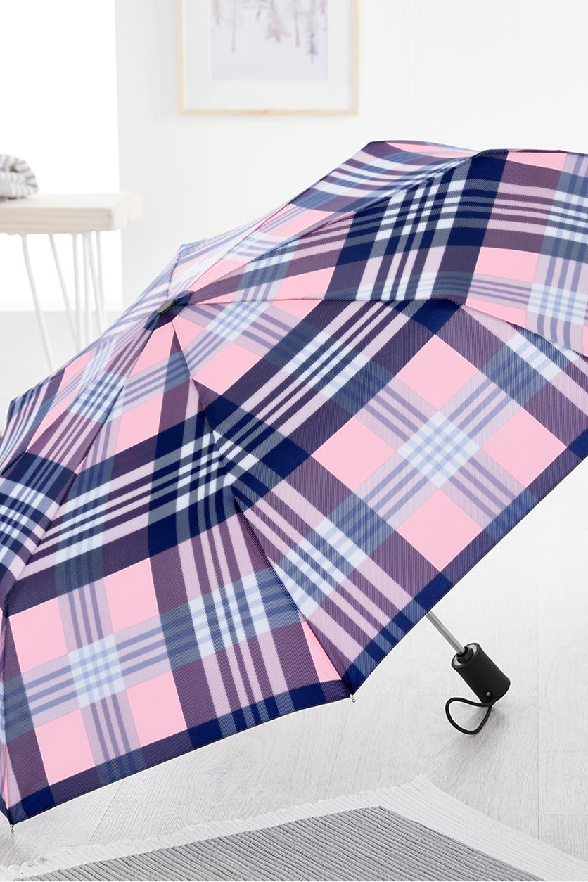 Automatic Mini Umbrella, Pink/Navy