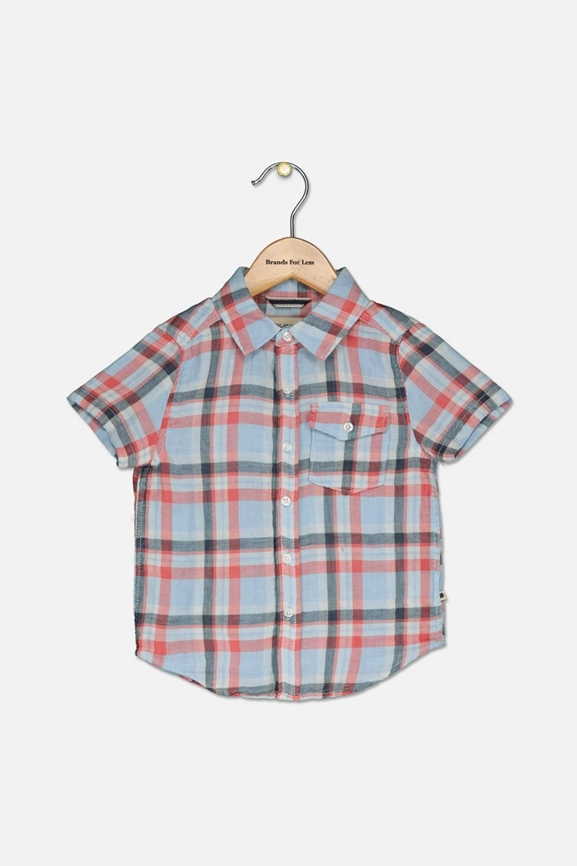Toddler Boy's Plaid Short Sleeve Shirt, Red/Blue Combo