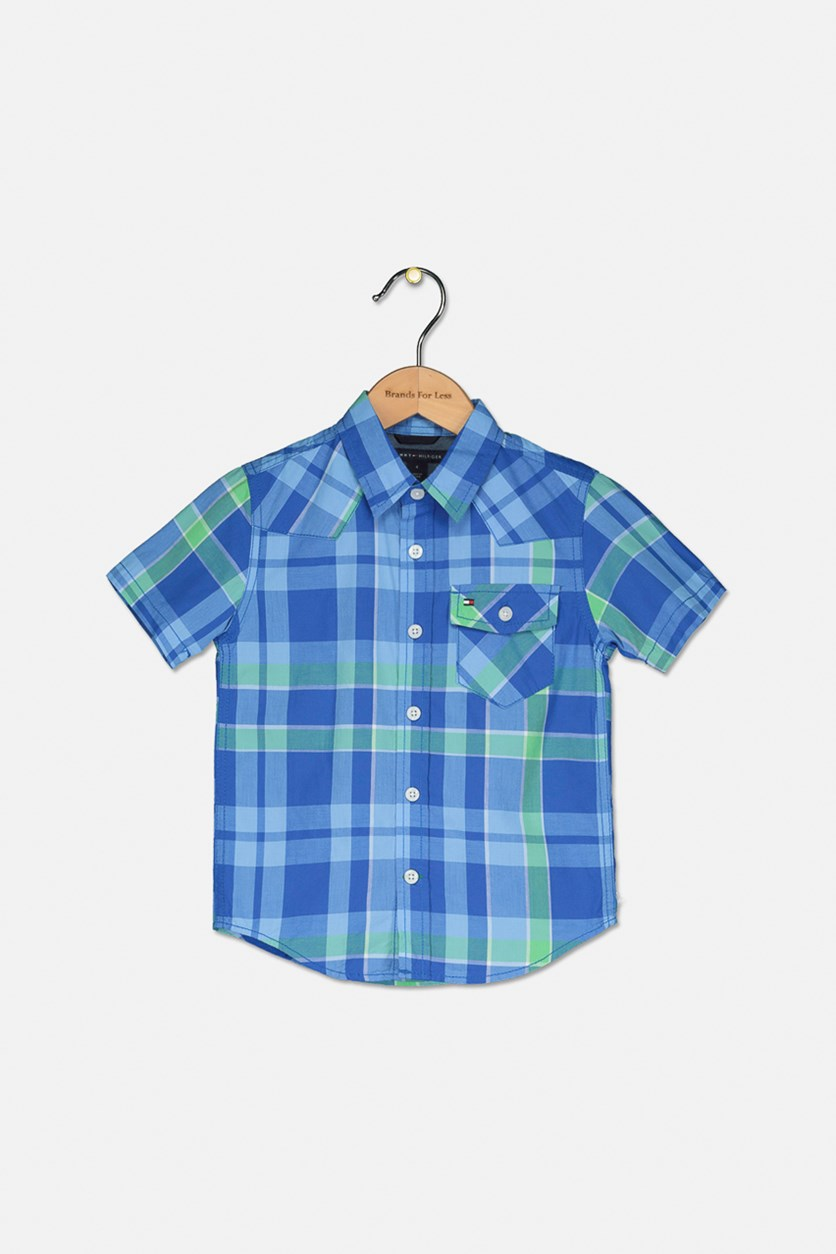 Toddler Boys Casper Plaid Shirt, Lolite Blue
