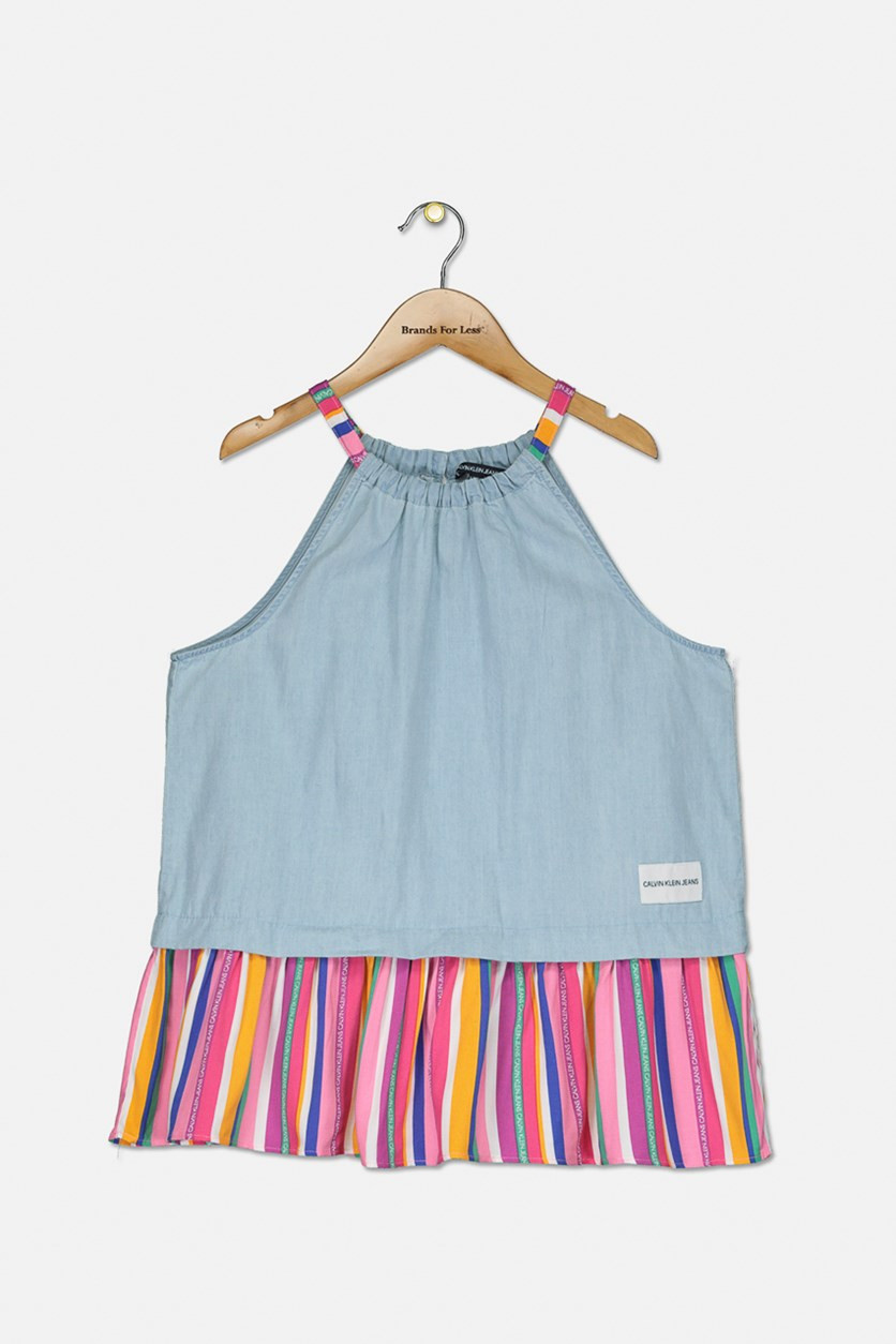 Big Girls Rainbow Stripe Chambray Tank Top, Grey