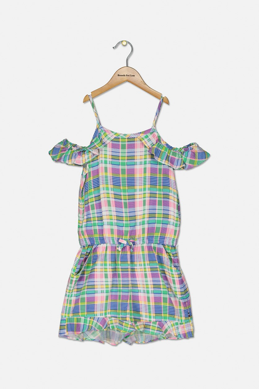 Big Girls Cold Shoulder Plaid Romper, Green Combo