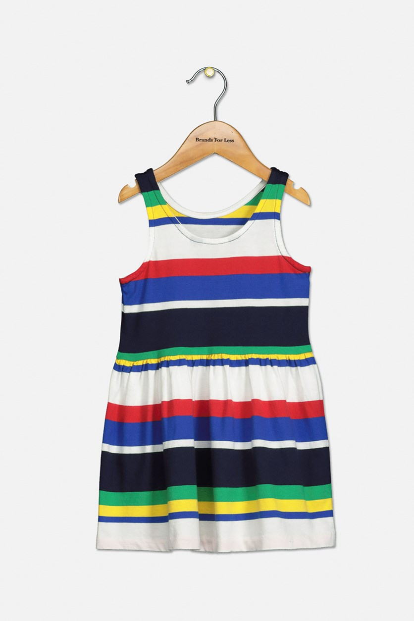 Toddler Girls Striped Cotton Jersey Dress, Navy Blue/Red/Combo