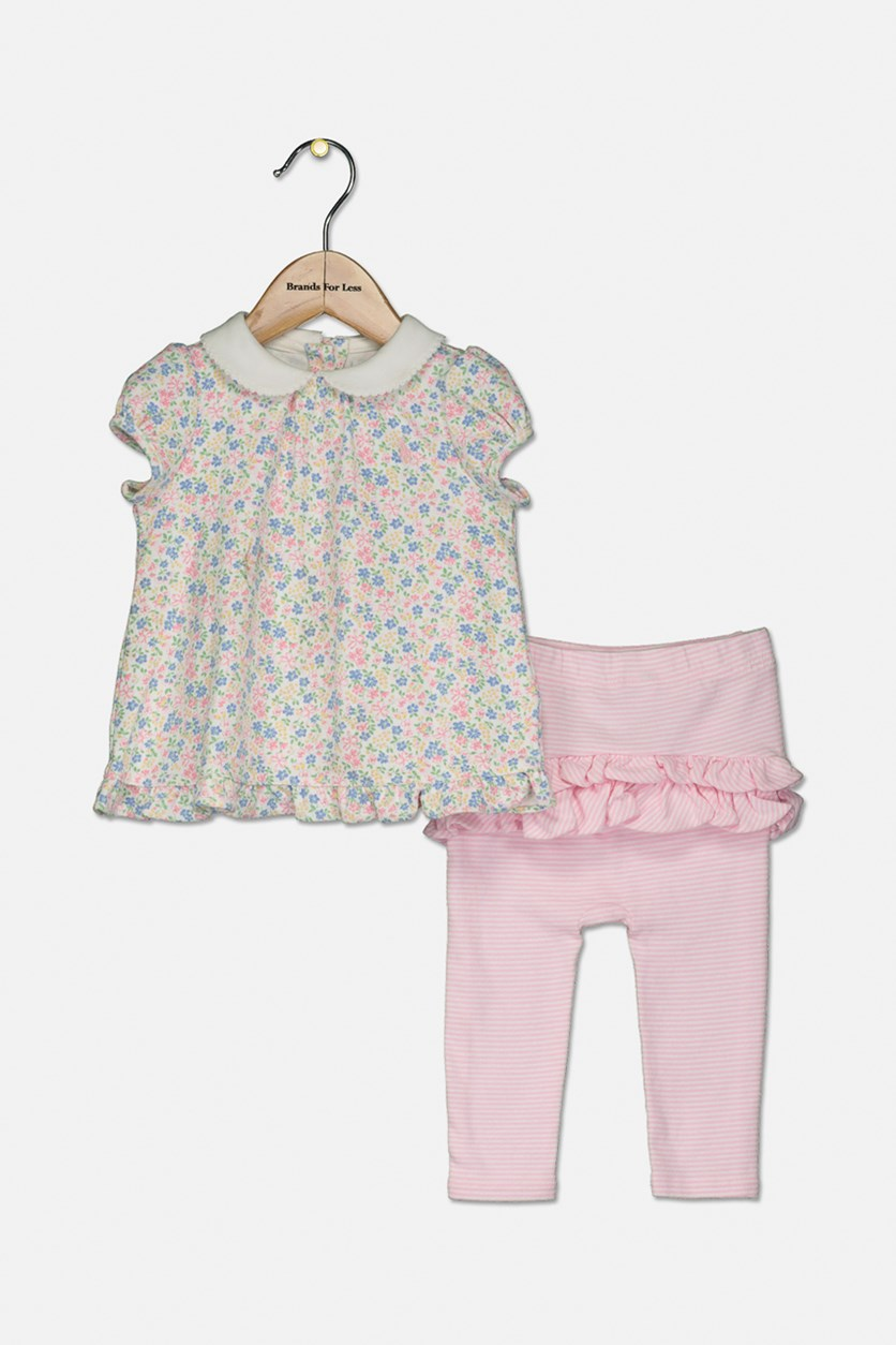 Toddlers Girls' Floral Top & Striped Legging Set, White/Pink