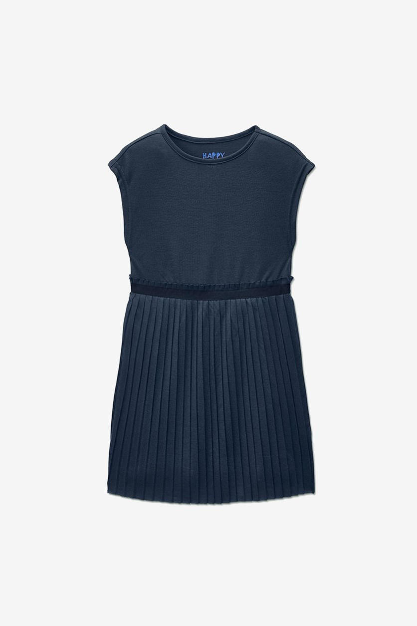 Baby Girl's Dress With A Pleated Skirt, Navy