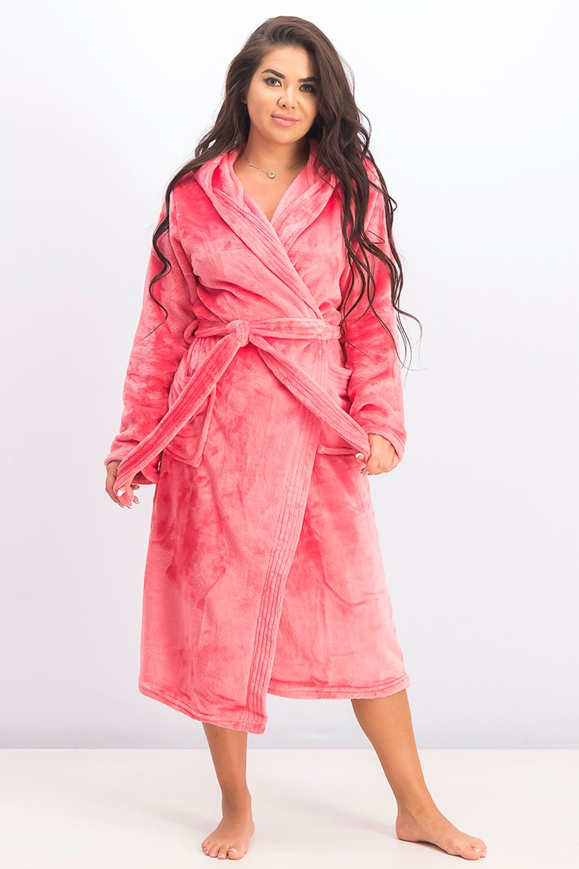 Women's Flannel Fleece Long Bathrobe, Sunkist Coral