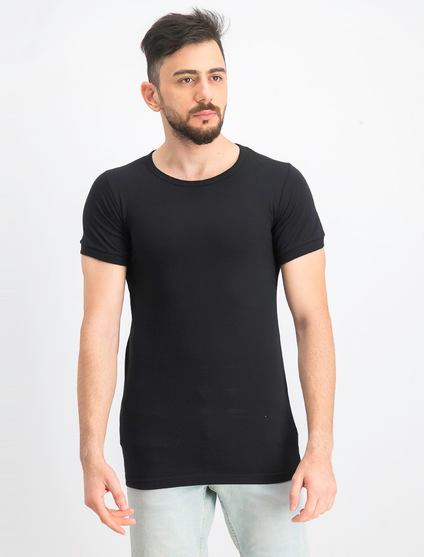 Men's Pullover Plain T-Shirt, Black