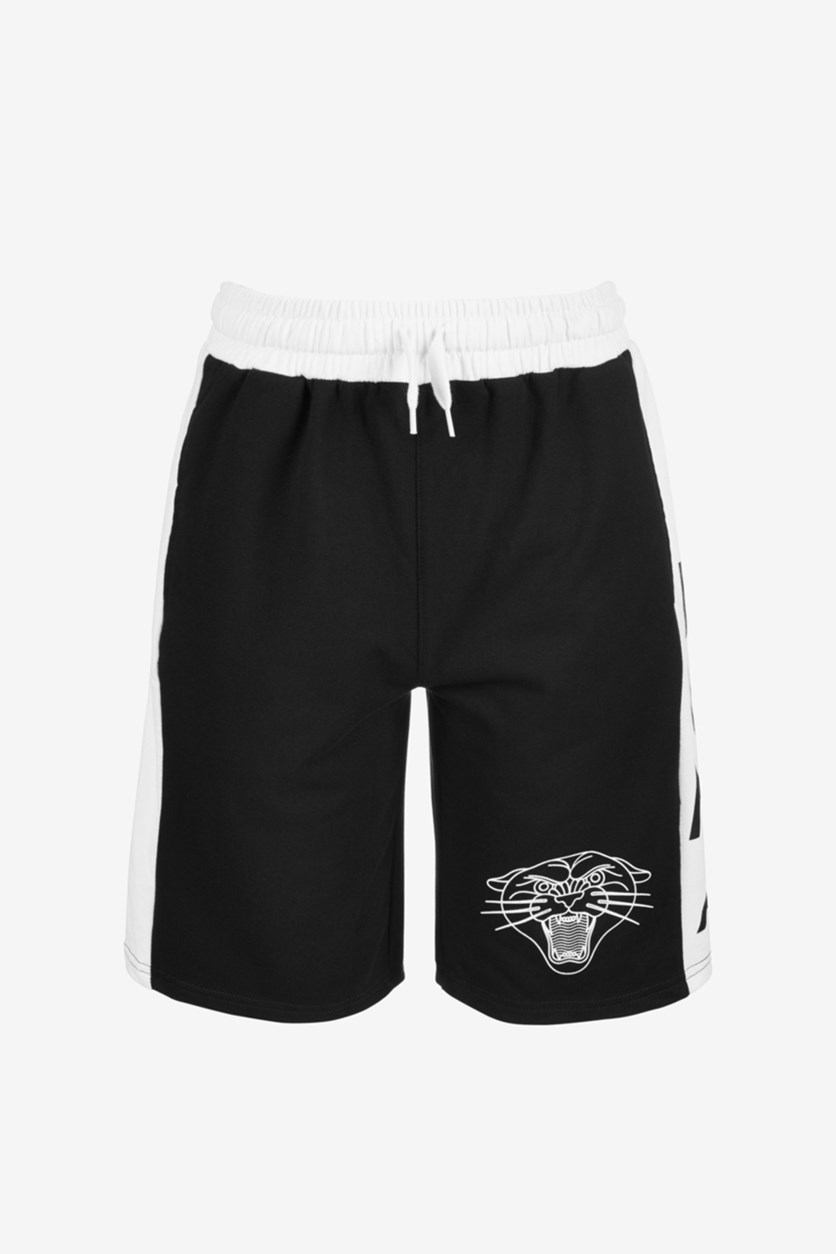 Boys French Terry Basketball Shorts, Black/White