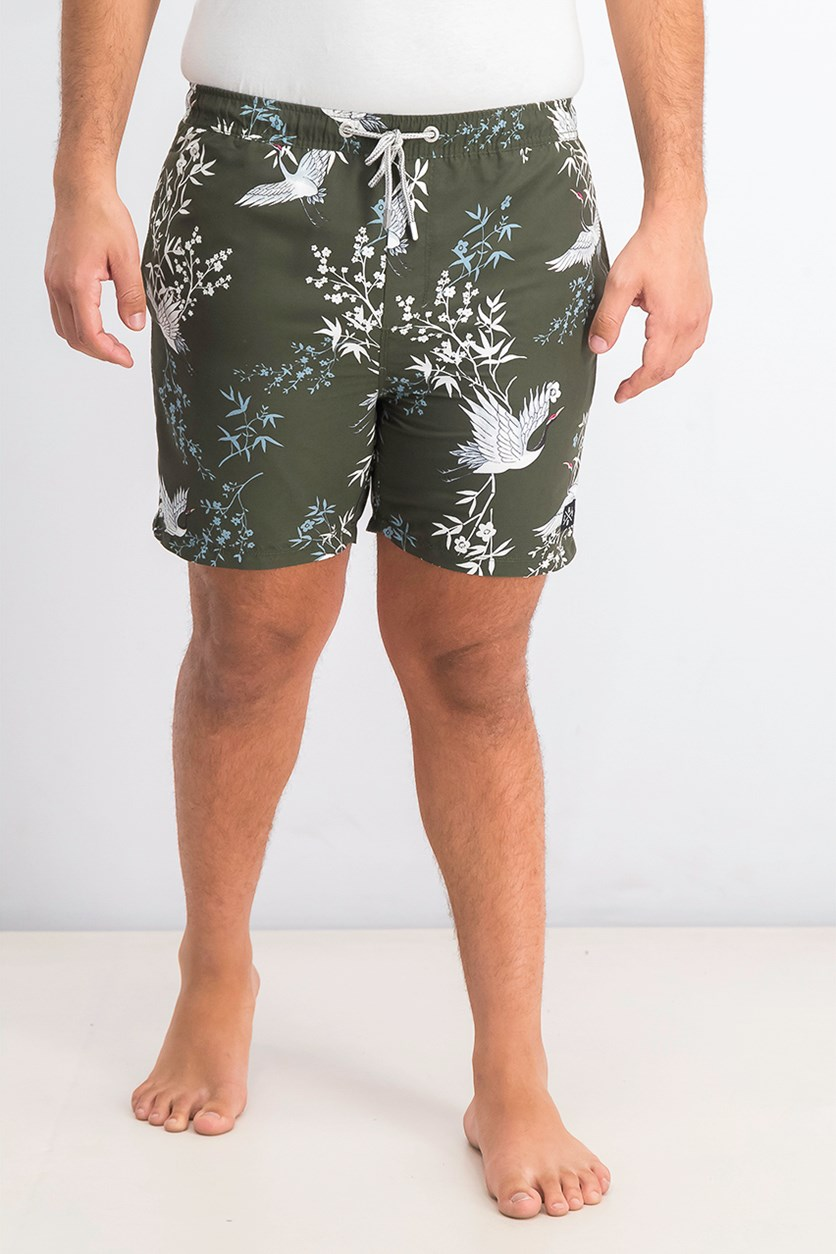 Mens Printed Beach Short, Army Green Combo