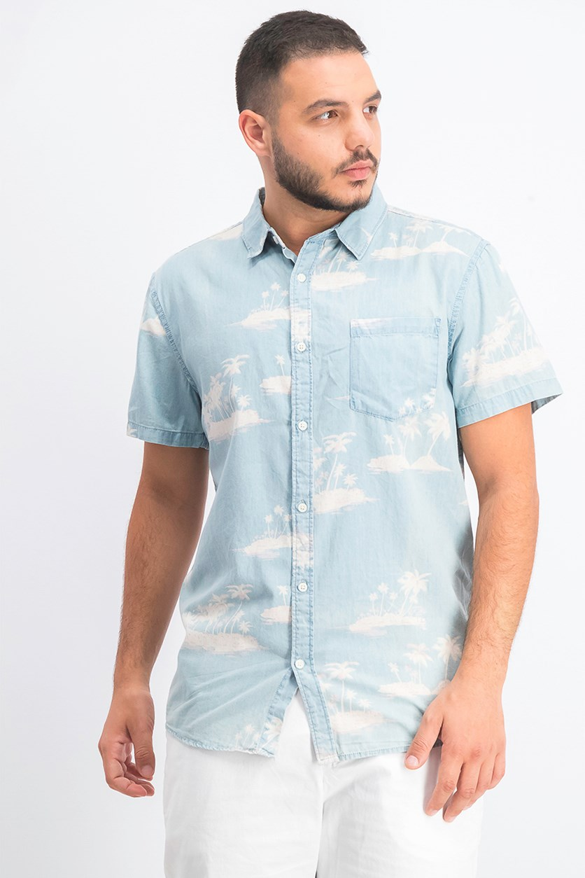 Men's Cotton Button-Down Shirt, Palm Paradise