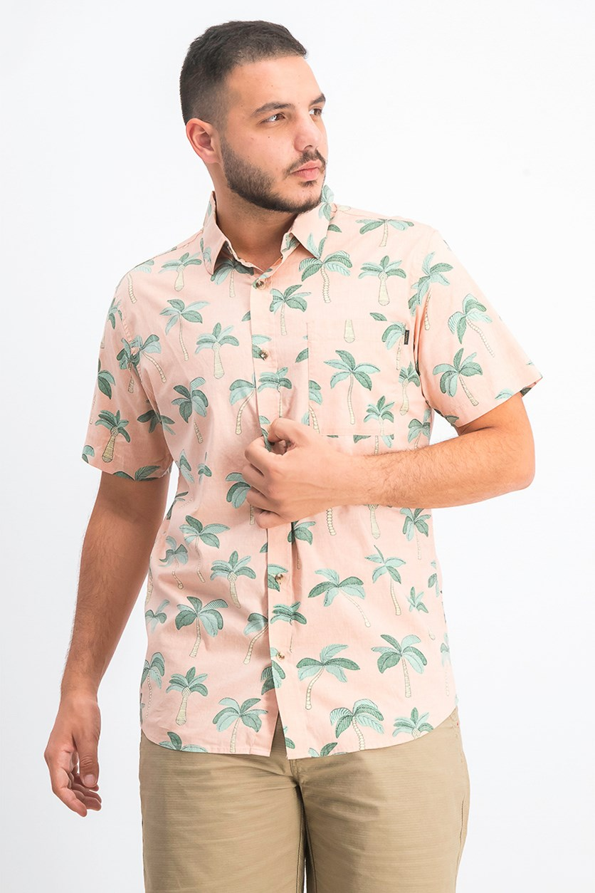 Men's Amigos Printed Pocket Shirt, Salmon