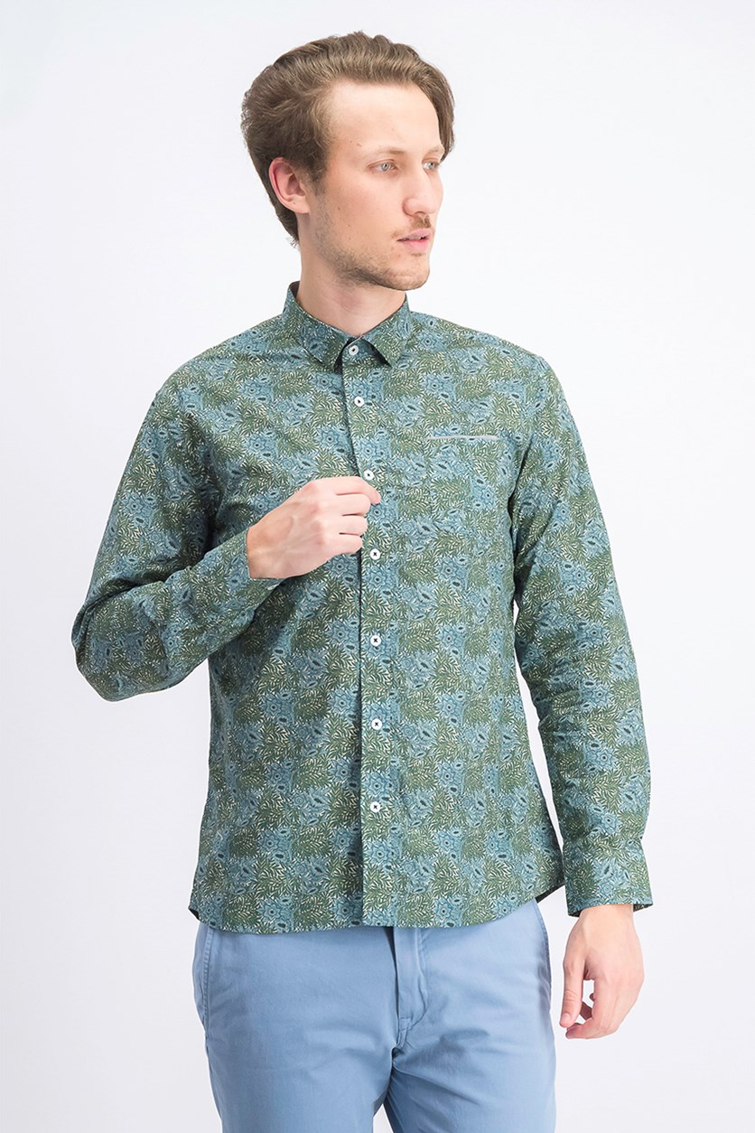 Men's Long Sleeve Casual Shirt, Green Combo