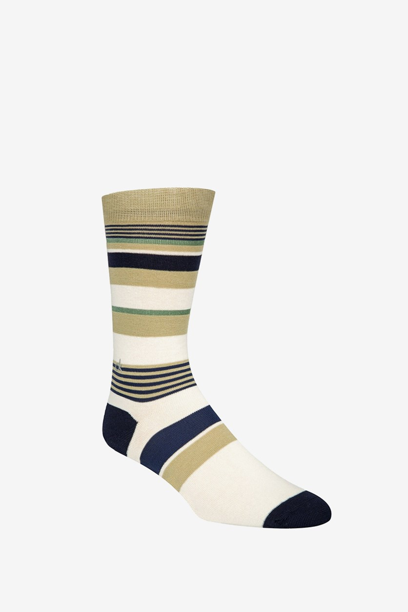 Men's Multi-Stripe Crew Socks, Ivory Combo