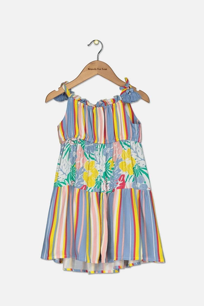 Girl's Floral Striped Maxi Dress, Blue Combo