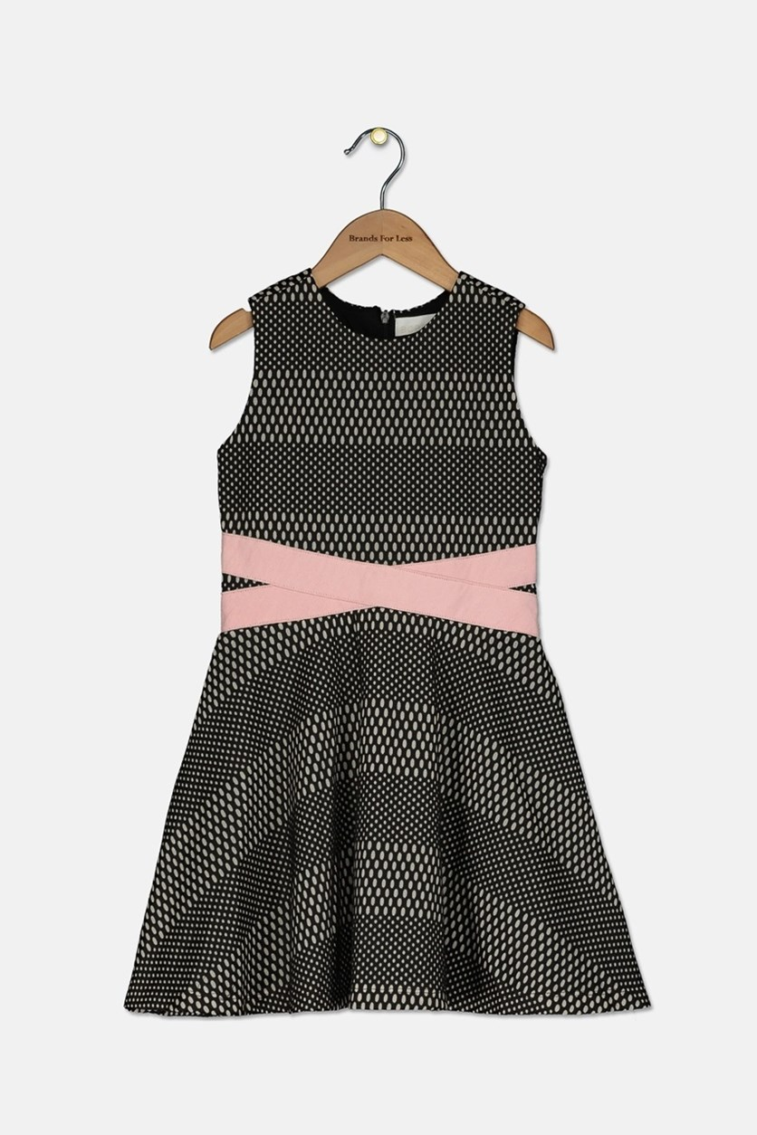 Toddler Girl's Textured Short Sleeves Fit and Flare Dress, Black/Pink