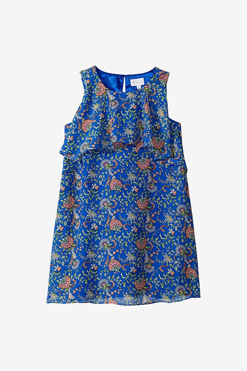 Kids Girls Allover Printed Dress, Dazzling Blue