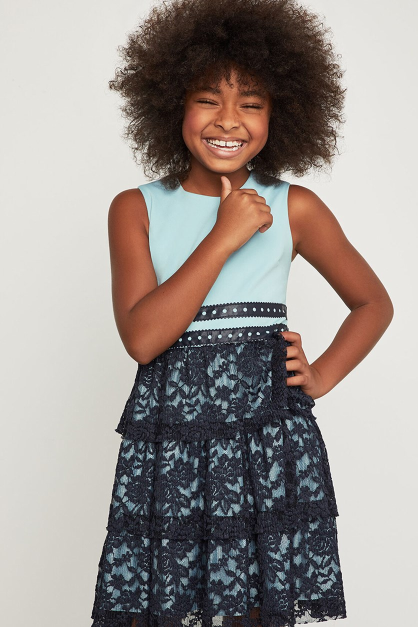 Girls Tiered Floral Lace Dress, Skyline