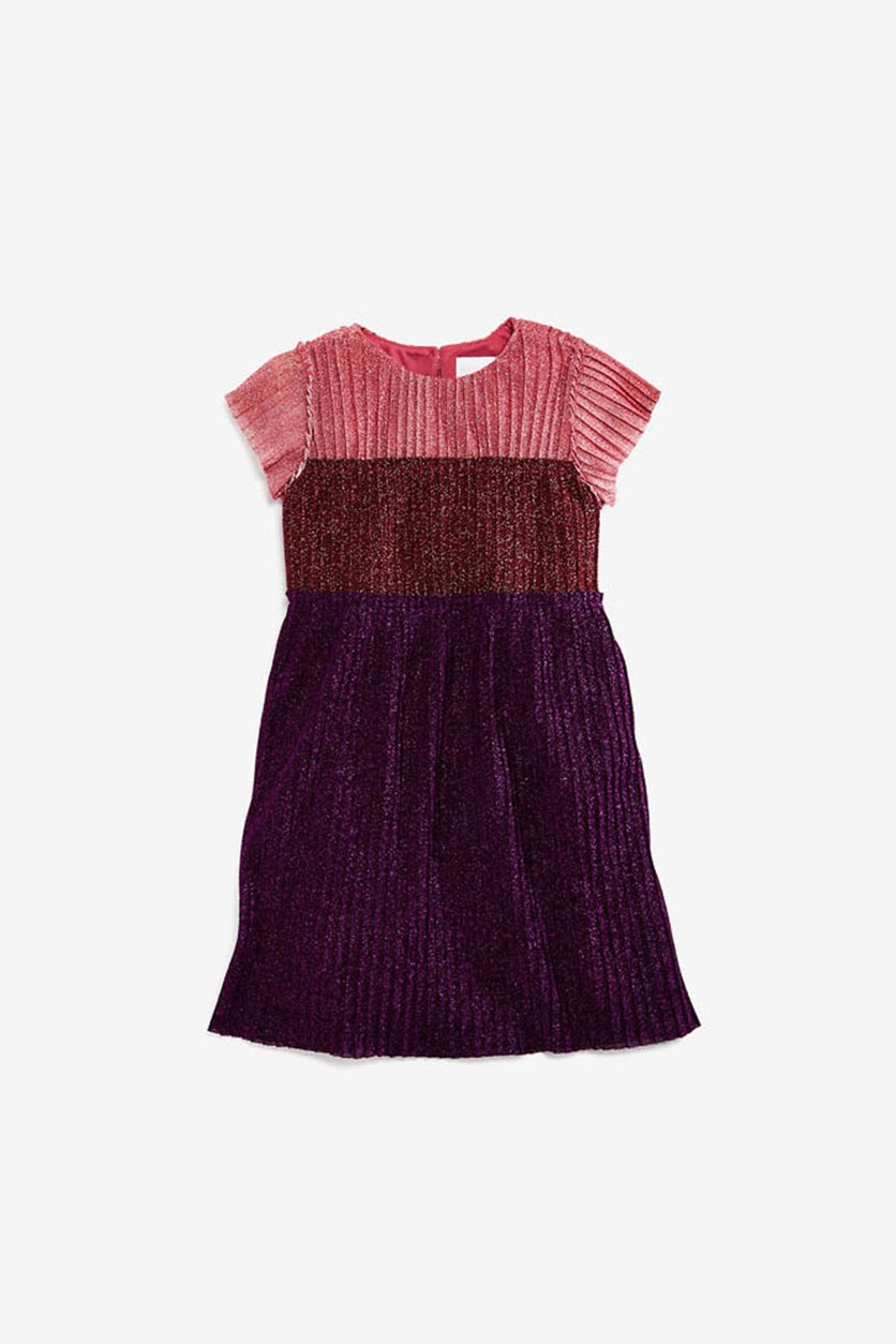 Girls Ruffled Chiffon Dress, Ruby Combo