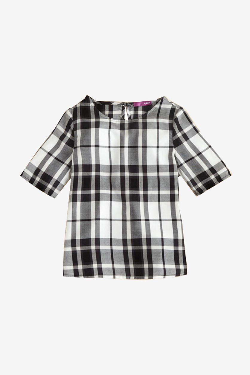 Girl's Plaid Top, Black/White