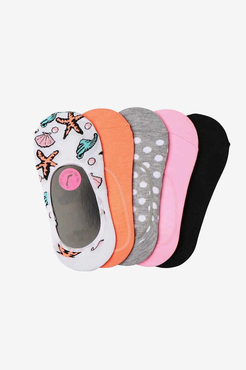 Women's 5-Pack Seashell Polka Dot Foot Liners, Gray/Pink/Black/White/Coral