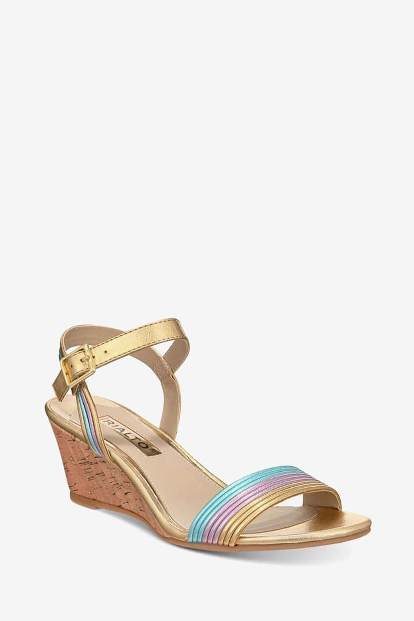 Women's Cadis Wedge Sandals, Gold/Lilac/Turquoise