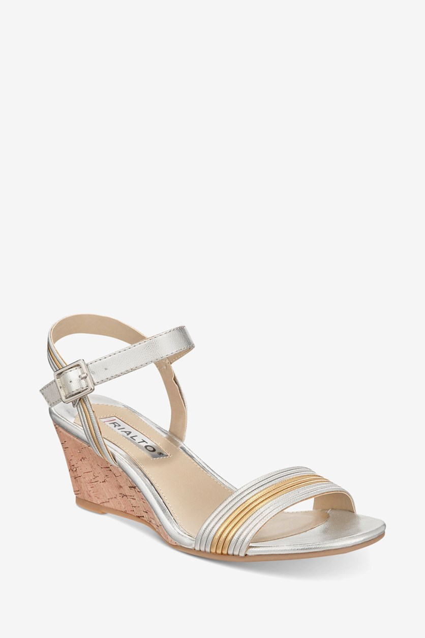 Women's Cadis Wedge Sandals, Silver/Gold
