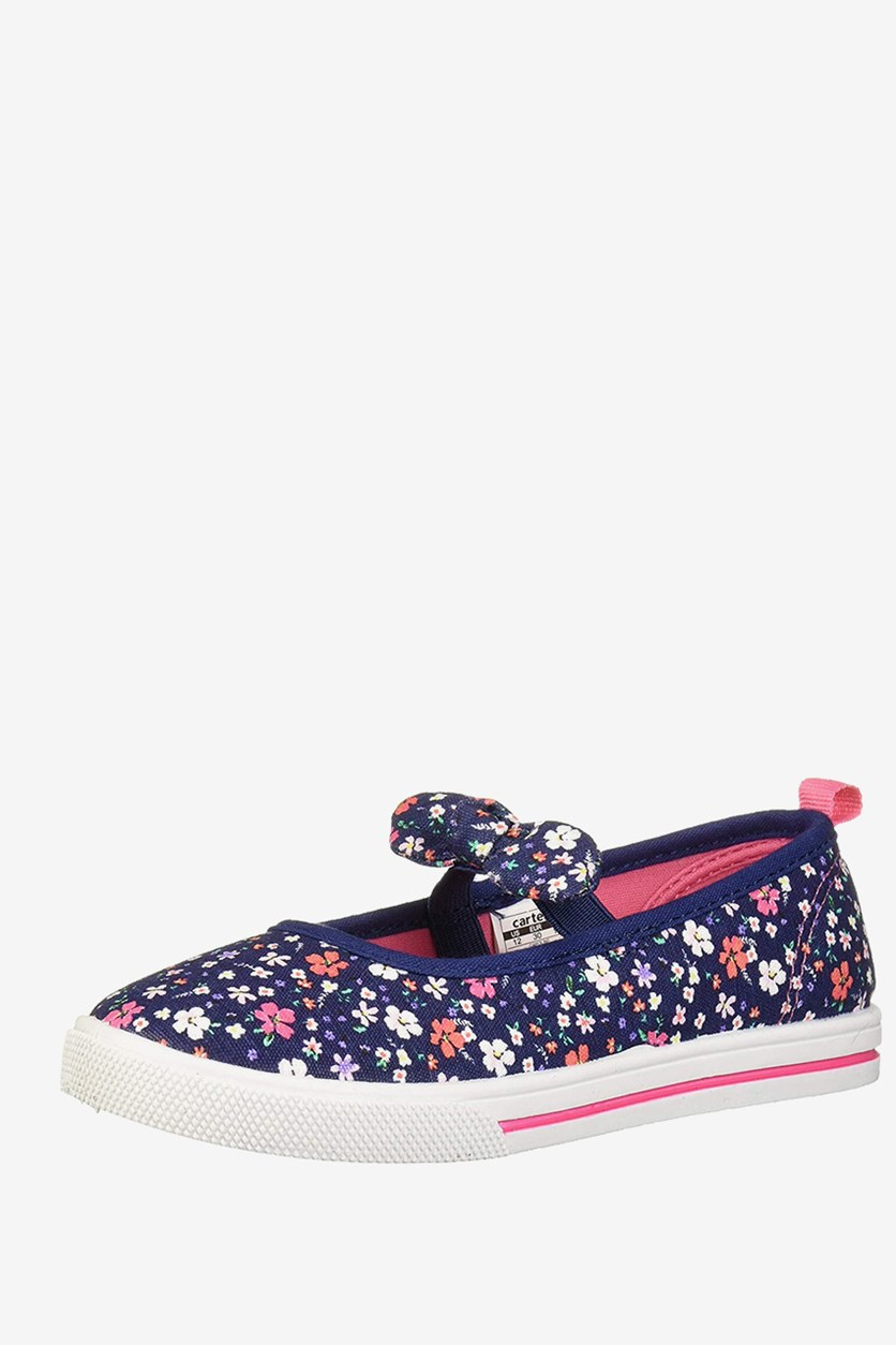 Toddler Girl's Floral Shoes, Navy